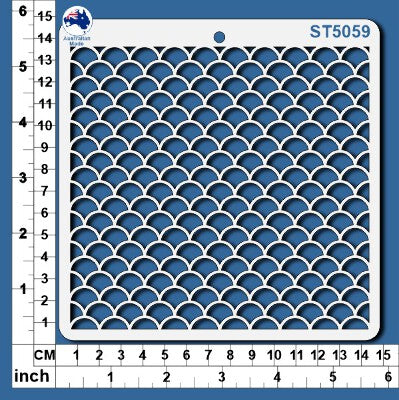 ST5059 Stencil Mermaid Scales Small