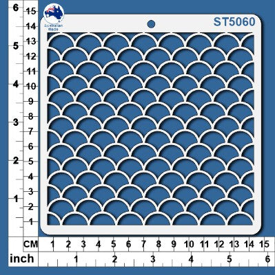ST5060 Stencil Mermaid Scales Large