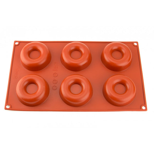 6 CAVITY DONUT - SILICONE CHOCOLATE MOLD / FLEXIBLE BAKING MOULD