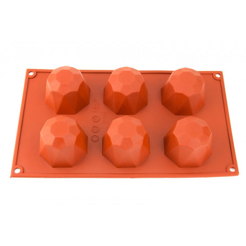 6 CAVITY ROUND JEWEL - SILICONE CHOCOLATE MOLD / FLEXIBLE BAKING MOULD