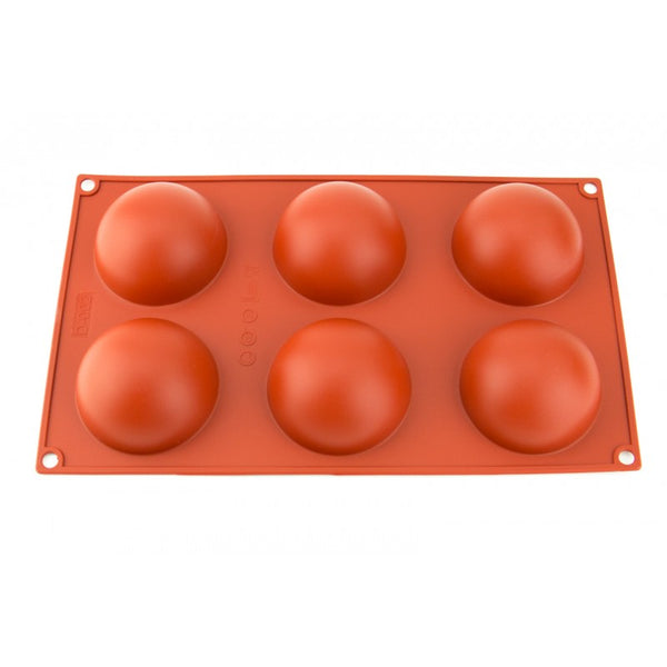 60mm - 6 CAVITY - HEMISPHERE  - 2.4 INCH CHOCOLATE SILICONE MOULD BALL MOLD
