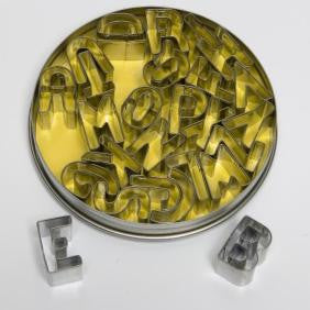 26 Piece Set, stainless steel, 12cm diameter tin Complete alphabet A to Z.  A must have addition to any cake decorators toolkit.  Available to Canberra and Australia