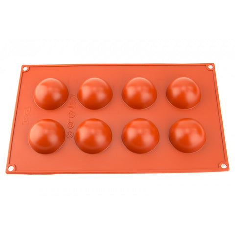 45mm - 8 HEMISPHERE SILICONE CHOCOLATE MOLD - FLEXIBLE BAKING MOULD
