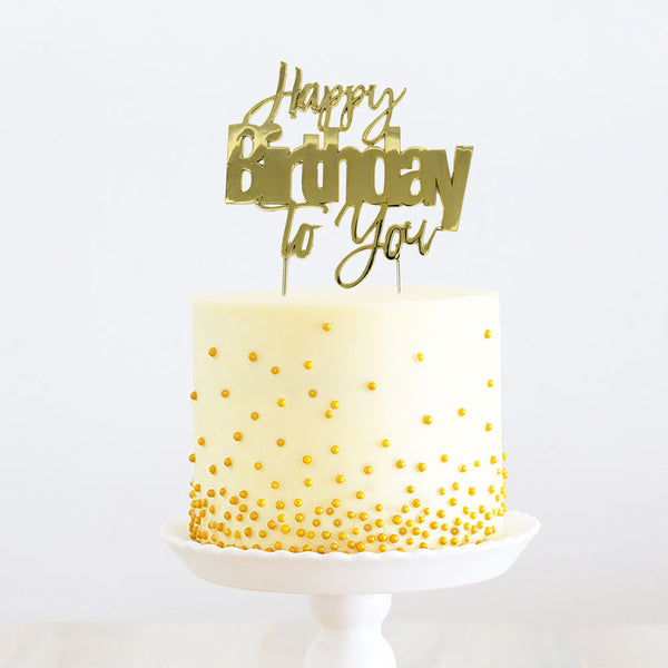 GOLD METAL CAKE TOPPER - HAPPY BIRTHDAY TO YOU