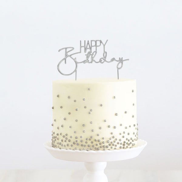 SILVER METAL CAKE TOPPER - HAPPY BIRTHDAY
