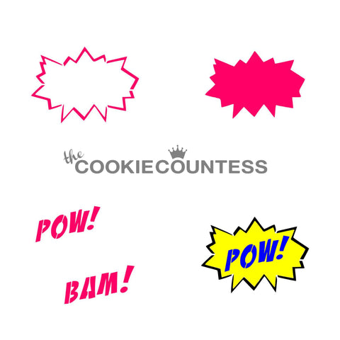 3 Piece Superhero set Stencil The Cookie Countess