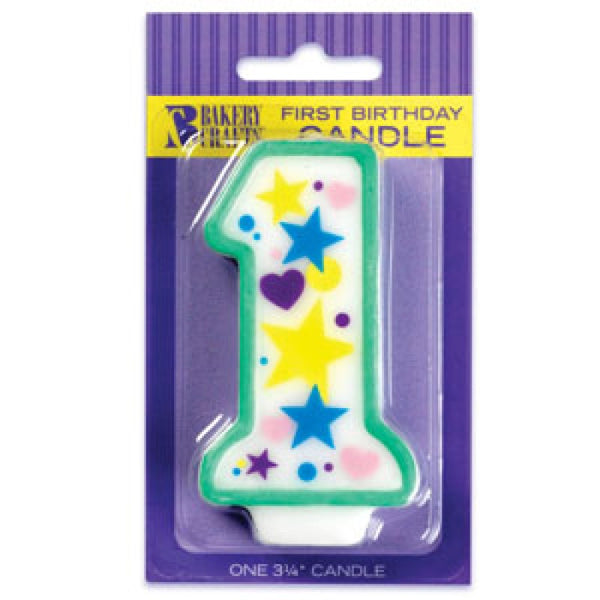 BABY FIRST BIRTHDAY STARS & HEARTS CANDLE