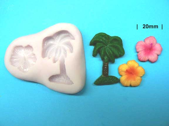 PALM TREE AND HIBISCUS FLOWER MOULD