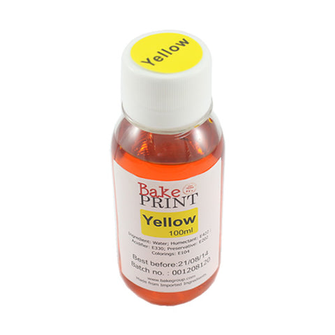 Yellow  - EDIBLE INK REFILL BOTTLE 100ML - for CANNON