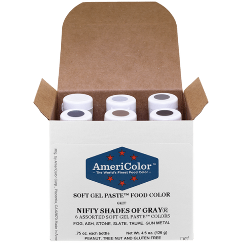 AMERICOLOR Gel Paste Nifty Shades of Grey 6 Pack - Americolour