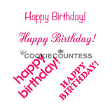 Happy Birthday Stencil The Cookie Countess