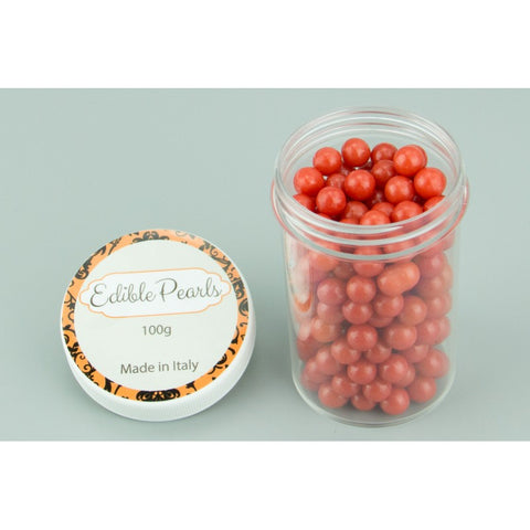 8mm EDIBLE Red CACHOUS PEARLS - 100 grams