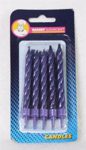 Purple Metallic Spiral Candles - Large
