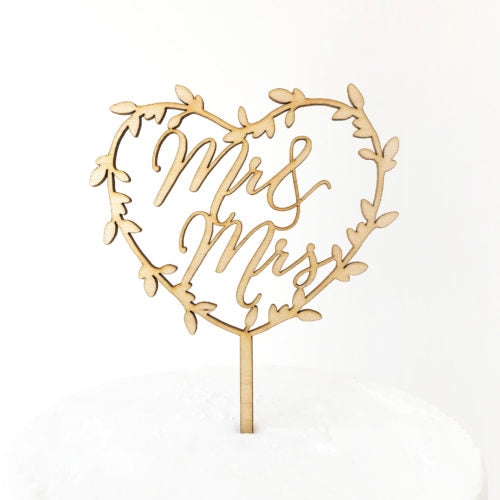 Mr and Mrs Heart Wreath Cake Topper - Rose Gold