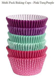 WILTON MULTI PACK BAKING CUPS - PINK/TURQ/PURPLE - 150