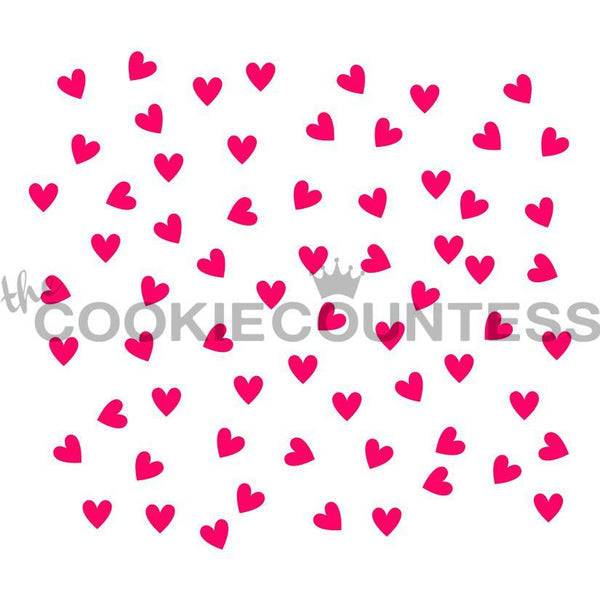 Scattered Hearts Stencil The Cookie Countess