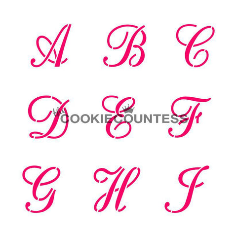 Alphabet Script Set Stencil The Cookie Countess