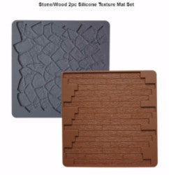 WILTON STONE/WOOD 2PC SILICONE TEXTURE MAT SET