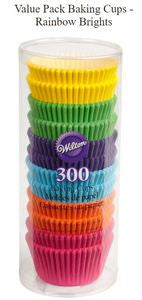 WILTON VALUE PACK BAKING CUPS - RAINBOW BRIGHTS - 300