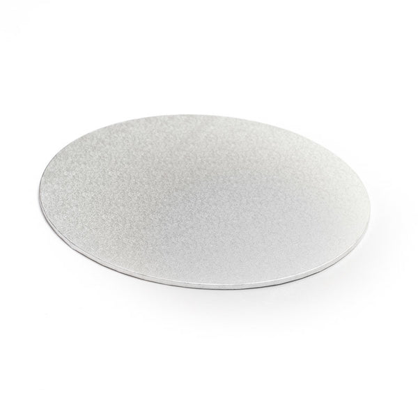 Silver cake decorating board 10 inch around. Available in Canberra and Australia wide