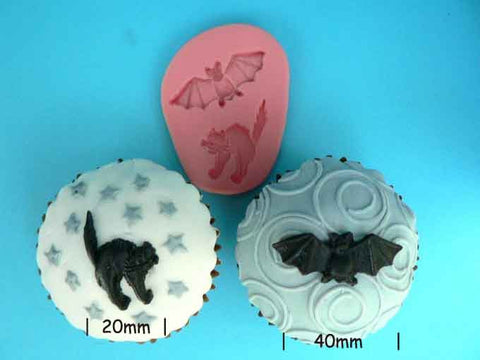 BAT AND BLACK CAT MOULD - HALLOWEEN