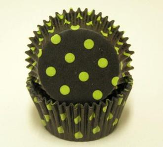 Black with Lime Spots Baking Cups - 50 Pack