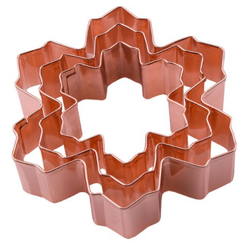 D.LINE SNOW FLAKE COOKIE CUTTER SET 3 COPPER PLATED