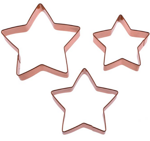 D.LINE STAR COOKIE CUTTER SET 3 COPPER PLATED