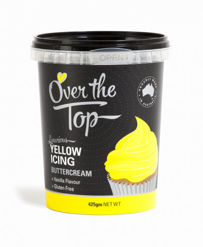 Over The Top Butter Cream Icing - Yellow - 425g - Gluten Free