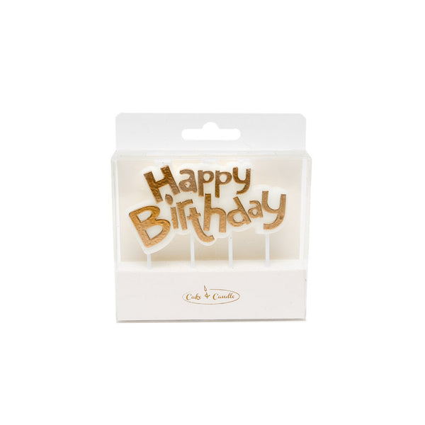 Happy Birthday Candle Plaque - Gold