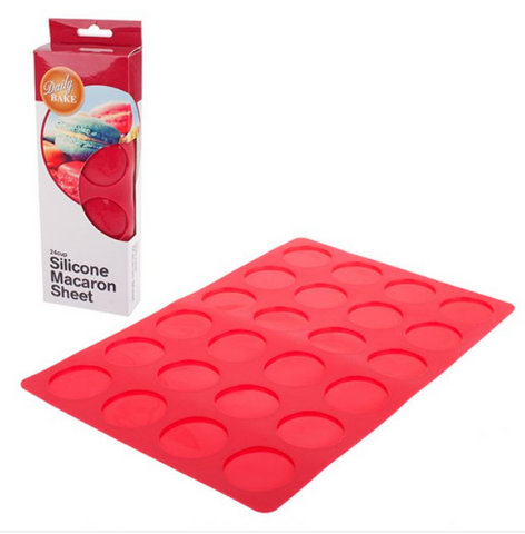 SILICONE 24 CUP MACARON SHEET 36 X 23CM - RED
