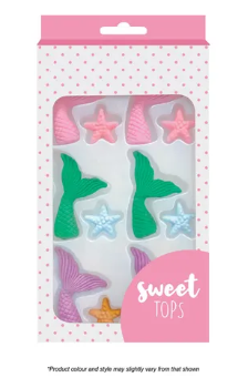 SWEET TOPS | MERMAID TAIL & STARFISH | ICING DECORATIONS | 12 PIECES