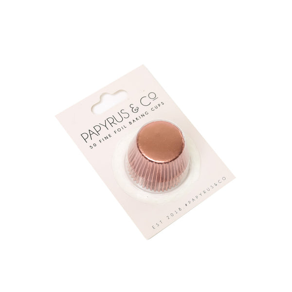 PAPYRUS MINI ROSE GOLD FOIL BAKING CUPS (50 PACK) - 35MM BASE