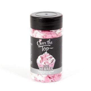 Over The Top Sprinkle Hearts - Pink and White -  Cake Decorating 65g - Gluten Free Sprinkles