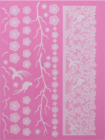 ORIENTAL BLOSSOM & BIRDS CAKE LACE MAT - BY CLAIRE BOWMAN