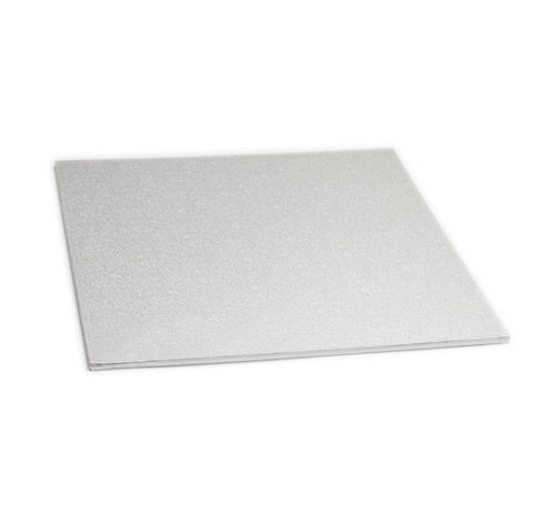 "16"" Square Silver Masonite Cake Board"