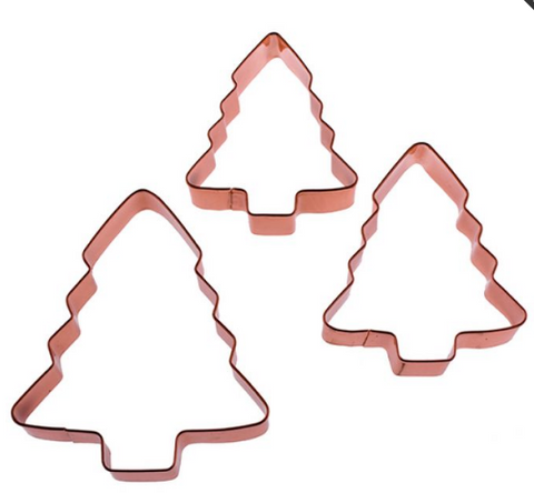 D.LINE XMAS TREE COOKIE CUTTER SET 3 COPPER PLATED