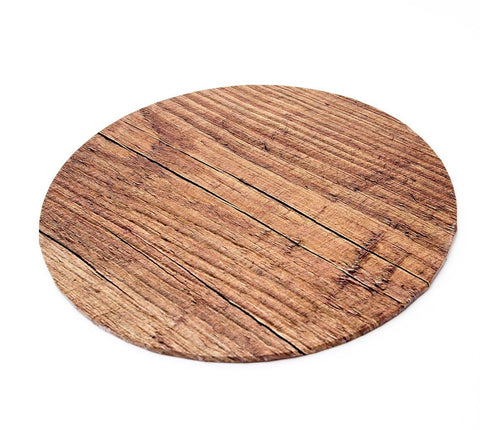 "10"" Round Printed Masonite Cake Board - Wood"