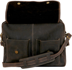 Men's Genuine Leather Vintage Leather Briefcase--Amsterdam