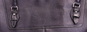 Women's Slender Top Zip Leather Briefcase-Color Grape