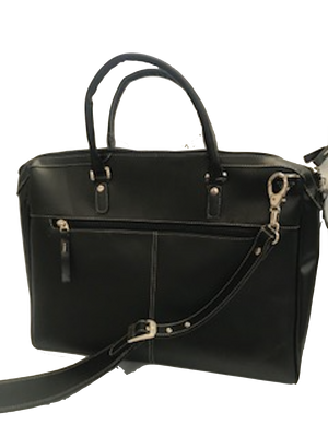 Women's Leather 3 Zip Briefcase-Midnight Black