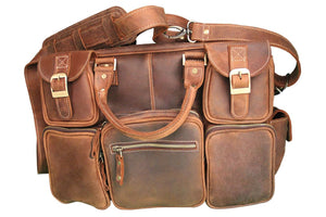 Men's Genuine Leather Briefcase-Work Horse--Smooth Napa