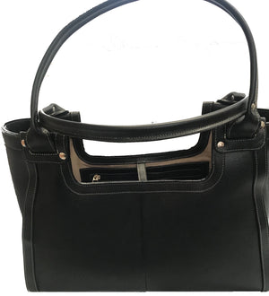 Handbag Extra Large--Travel Bag--Black-Cobblestone Leather