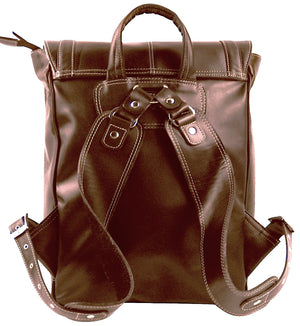 Women's Leather Backpack-Flap Over--Italian Expreso
