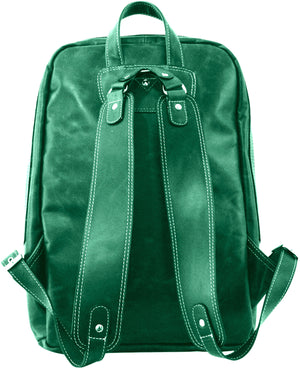 Women's Leather Backpack-2 Front Zip--Green