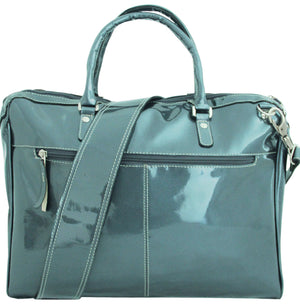 Women's Leather 3 Zip Briefcase-Hot Platinum--Bright and Shiny Silver