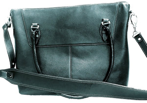 Women's Slender Top Zip Leather Briefcase--Midnight Black