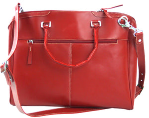 Women's Leather 3 Zip Briefcase--Red Berry