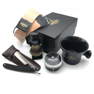 "The Beginner Straight Razor Gift Set with Black Resin 5/8"" Razor + Accessories"
