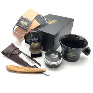 "The Beginner Straight Razor Gift Set with Olive Wood 5/8"" Razor + Accessories"